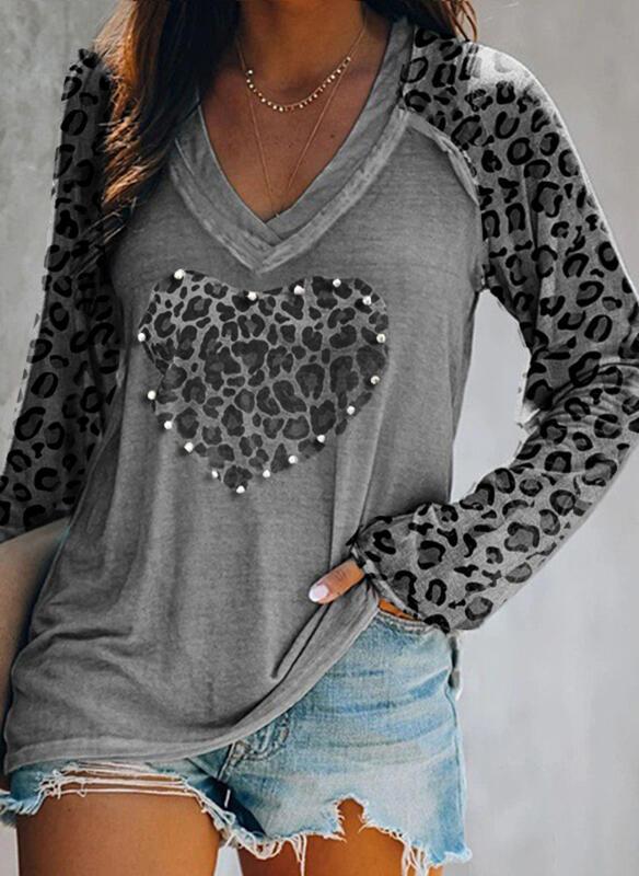 Leopard Heart V-Neck Long Sleeves Casual Blouses