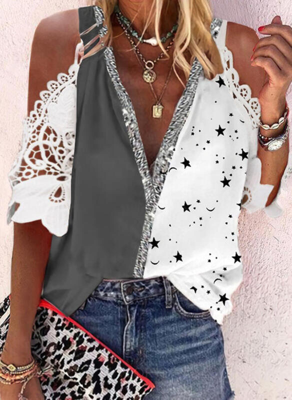 Print Color Block Lace Cold Shoulder 1/2 Sleeves Casual Blouses