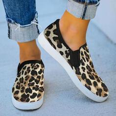 Women's PU Flat Heel Flats Round Toe Slip On With Animal Print Elastic Band shoes