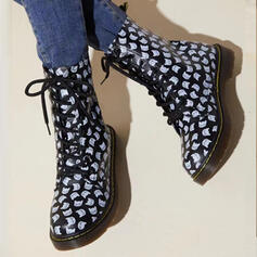 Women's Leatherette Chunky Heel Martin Boots Round Toe With Animal Print Lace-up shoes