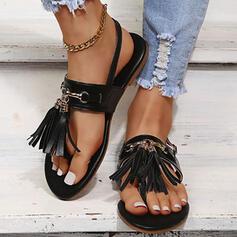 Women's PU Flat Heel Sandals Flats Peep Toe Flip-Flops With Buckle Tassel shoes