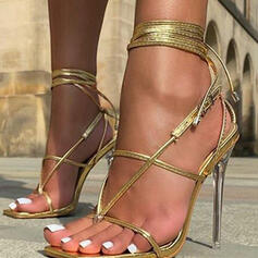 Women's PU Stiletto Heel Sandals Pumps Low Top Toe Ring Heels With Buckle Lace-up Hollow-out Crisscross Solid Color shoes