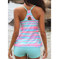 Print Splice color Strap U-Neck Sexy Vintage Plus Size Tankinis Swimsuits