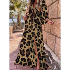 Leopard Long Sleeves Shift Casual Maxi Dresses