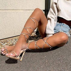 Women's PU Stiletto Heel Sandals Pumps Peep Toe Heels With Animal Print Lace-up shoes