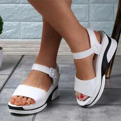 Women's PU Wedge Heel Sandals Platform Peep Toe With Buckle Solid Color shoes