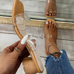 Women's PU Chunky Heel Sandals Peep Toe Slippers Heels With Hollow-out shoes
