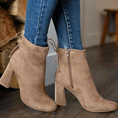 Women's Suede Chunky Heel Boots Ankle Boots Low Top Heels Pointed Toe With Zipper Lace-up Solid Color shoes