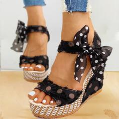 Women's PU Wedge Heel Sandals Wedges Peep Toe Heels With Bowknot shoes