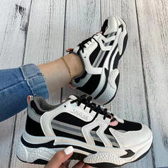 Women's Leatherette Flat Heel Flats Sneakers With Lace-up shoes