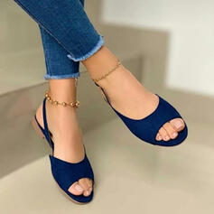 Women's Suede Flat Heel Sandals Flats Peep Toe Slingbacks With Solid Color shoes