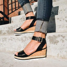 PU Wedge Heel Sandals Wedges Peep Toe Heels With Buckle shoes