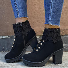 Women's PU Chunky Heel Ankle Boots Martin Boots Round Toe With Buckle Zipper shoes