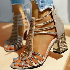 Women's PU Chunky Heel Sandals Pumps Peep Toe Heels With Rhinestone Sequin Zipper shoes