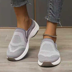 Women's Flying Weave Flat Heel Low Top Sneakers Slip On Loafers & Slip-Ons With Splice Color shoes