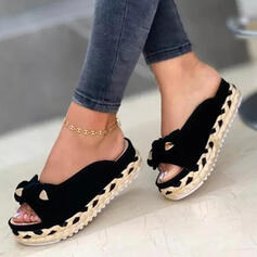 Women's Suede Flat Heel Sandals Flats Peep Toe Slippers With Bowknot Braided Strap Solid Color shoes