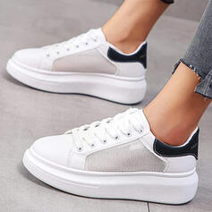 Women's Mesh Flat Heel Flats Round Toe Sneakers With Lace-up Splice Color shoes