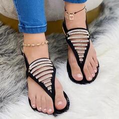 Women's PU Flat Heel Sandals Peep Toe With Rhinestone Buckle shoes