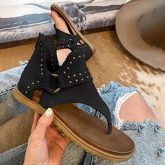 Women's PU Flat Heel Sandals Peep Toe Flip-Flops With Rivet Buckle Hollow-out shoes