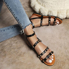 Women's PU Flat Heel Sandals Flats Peep Toe Round Toe With Rivet Hollow-out shoes