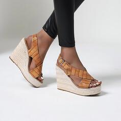 Women's Textured Leather Wedge Heel Sandals Wedges Peep Toe Heels With Buckle shoes