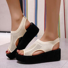 Women's Flying Weave Wedge Heel Sandals Platform Wedges Peep Toe Heels With Hollow-out Elastic Band Solid Color shoes