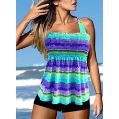 Stripe Splice color Halter U-Neck Boho Tankinis Swimsuits