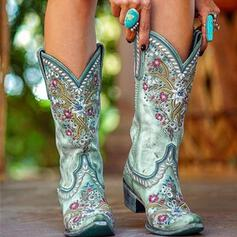 Women's Suede Chunky Heel Mid-Calf Boots Pointed Toe With Floral Embroidery shoes