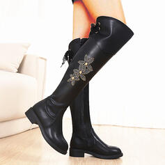 Women's Leatherette Chunky Heel Over The Knee Boots Round Toe With Lace-up Embroidery Floral Print shoes