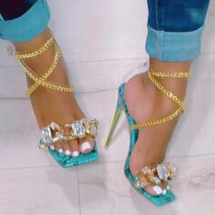 Women's PU Stiletto Heel Sandals Pumps Peep Toe With Rhinestone Chain shoes
