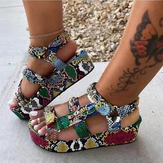 Women's Leatherette Low Heel Sandals Flats Platform Peep Toe With Buckle Animal Print shoes