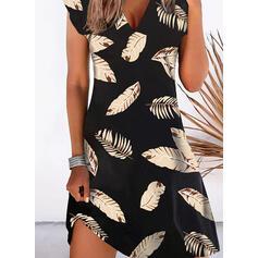 Print Cap Sleeve Shift Knee Length Casual/Vacation Dresses