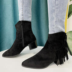 Women's Suede Chunky Heel Boots Ankle Boots Low Top Heels Pointed Toe With Zipper Tassel Solid Color shoes