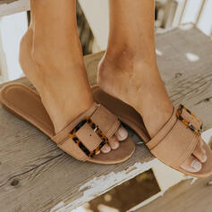 Women's Suede Flat Heel Sandals Flats Peep Toe Round Toe With Buckle shoes