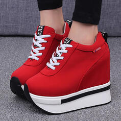 Women's Canvas Others Flats Low Top Round Toe Sneakers With Lace-up Solid Color shoes