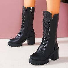 Women's PU Chunky Heel Mid-Calf Boots Martin Boots Round Toe With Zipper Lace-up Solid Color shoes