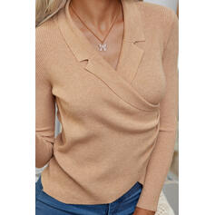 Solid Lapel Casual Sweaters