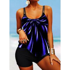 Stripe Splice color Strap U-Neck Fashionable Boho Tankinis Swimsuits
