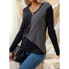 Print V-Neck Casual Sweaters
