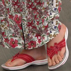 Women's Leatherette Flat Heel Sandals Peep Toe Flip-Flops Slippers With Flower shoes