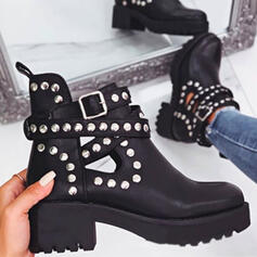 Women's PU Chunky Heel Martin Boots Low Top Round Toe With Rivet Buckle Hollow-out shoes