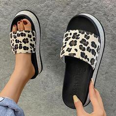 Women's PU Flat Heel Sandals Wedges Peep Toe Slippers Heels With Animal Print shoes