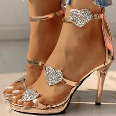 Women's PU Stiletto Heel Sandals Pumps Peep Toe With Rhinestone Sparkling Glitter Buckle shoes