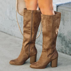 Women's Suede Chunky Heel Boots Mid-Calf Boots Heels Round Toe With Zipper Solid Color shoes