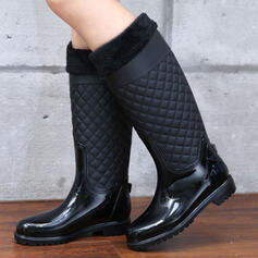 Women's Men's PU Flat Heel Boots Rain Boots Round Toe With Solid Color shoes