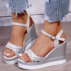Women's PU Wedge Heel Sandals Platform Wedges Peep Toe Heels With Buckle Braided Strap Solid Color shoes