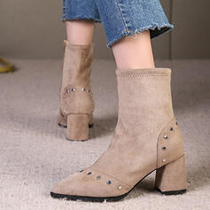 Women's Suede Chunky Heel Mid-Calf Boots Heels Pointed Toe With Rivet Zipper Solid Color shoes
