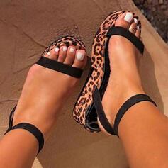 Women's PU Wedge Heel Sandals Peep Toe With Buckle Animal Print shoes