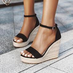 Women's PU Wedge Heel Sandals Pumps Platform Wedges Peep Toe Heels With Buckle Solid Color shoes