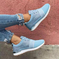 Women's Cloth Mesh Flat Heel Flats Round Toe Sneakers With Lace-up shoes